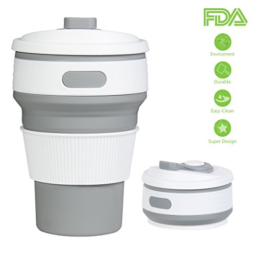 Cup Convenient Travel Coffee Rocontrip Mug Lightweight Food Grade Silicone & PP BPA Free for Camping Hiking Outdoor Commuters (Gray) (Small Coffee Mug)