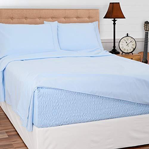 (Bed Tite Stretch Fit Brushed Microfiber Soft-Woven Deep Pocket Sheet Set (Queen Size, Light Blue))