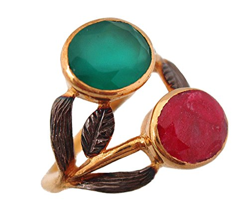 Green Onyx and Ruby Gold Plated Sterling Silver Antique Finish Leaf Pattern Jewelry ()