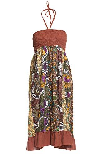 Jupe maxi ou robe en patchwork multicolore avec ceinture lastique, env. 100 cm de longueur - plusieurs designs diffrents Marron 3