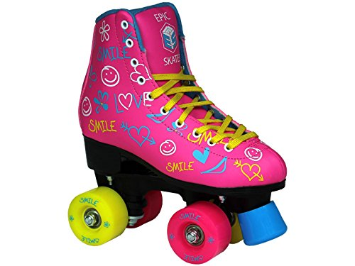 Epic Blush High-Top Indoor Outdoor Quad Roller Skates w 2 pr of Laces Yellow Blue – Childrens