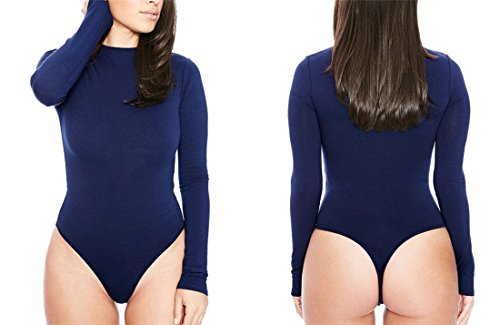 JudyBridal Women's Long Sleeve Sexy Stretch Bodysuit Leotard Top (XL, Navy-Blue) (Long Sleeve Plus Size Costume)