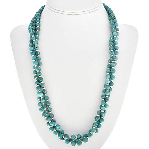 0154 Natural - Navajo Natural Turquoise Silver Bead Necklace Three Strand Choker 0154