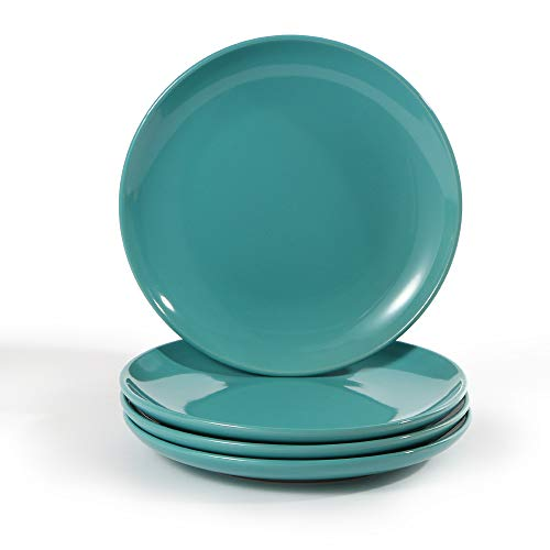 (CeramicHome Porcelain Salad Plate(7-Inch, 4-Piece), Stoneware Teal Blue Lunch/Dessert Plates Set for 4)