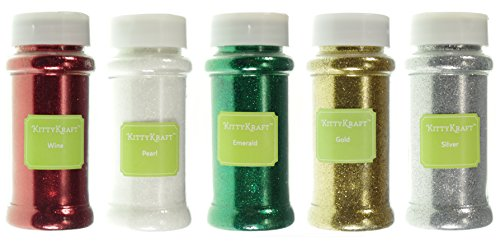 KittyKraft Extra Fine Glitter Set Red, White, Green, Gold, and Silver Glitter