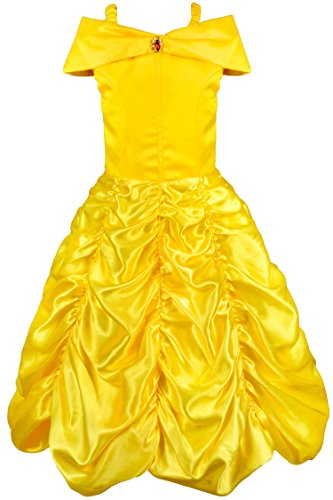 Wenge Child's Princess Belle Off Shoulder Layered Prom Dress Cosplay Costume (7, Yellow)