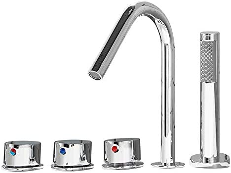 浴槽の蛇口 浴室バスタブ蛇口ハンドシャワー真鍮洗面蛇口流域ミキサータップ (色 : Silver, Size : Free size)