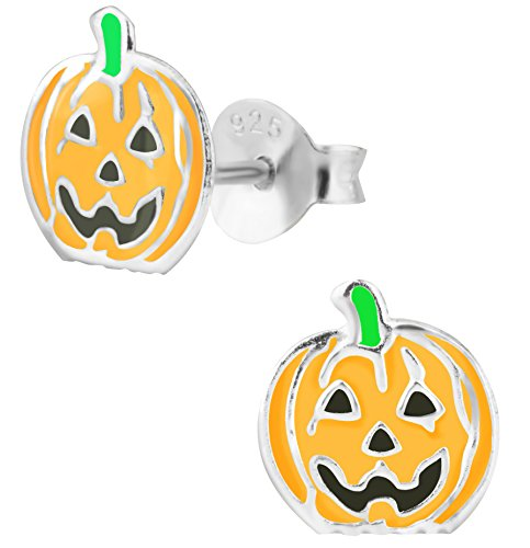 - Hypoallergenic Sterling Silver Halloween Jack-O-Lantern Pumpkin Stud Earrings for Kids (Nickel Free)