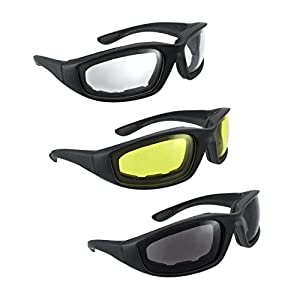 3 Pair UV Protection Motorcycle Riding Glasses Bicycle Sunglasses - Smoke Clear Yellow