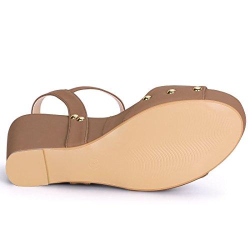Single Platform Allegra Sandals K Women Strap Wedge Tan Heel RXq7Eqf