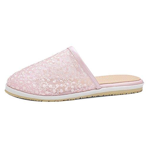 TAOFFEN Women Fashion Flat Slide Sandals Shoes Pink
