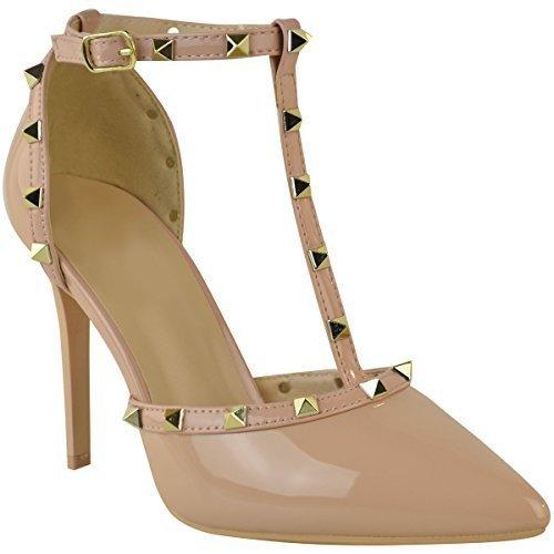 Sandales à talons aiguille hauts - brides/clous - style rock/soirée - femme Couleur Chair Vernie/Clous Dorés UlENne