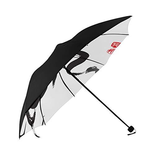 Oriental Writing Chinese Style Brush Word Compact Travel Umbrella Sun Parasol Anti Uv Foldable Umbrellas(underside Printing) As Best Present For Women Sun Uv Protection ()
