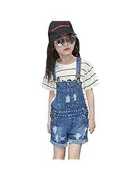 Evelin BEE Kids Girls Denim Dungarees Cotton Bib Overall Shorts Summer Ripped Shortalls