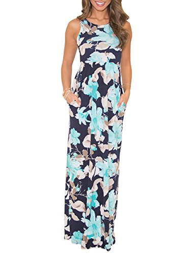 DUNEA Women's Maxi Dress Floral Printed Autumn Sleeveless Casual Tunic Long Maxi Dress (Small