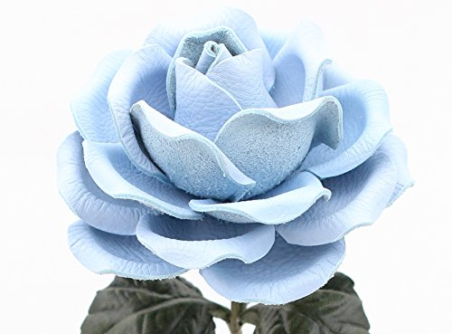 Long Stem Baby Blue Leather Rose Handmade Third Wedding Anniversary