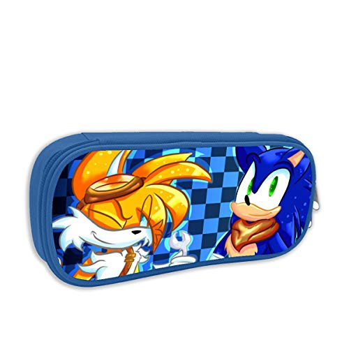 (Sonic Boom-Sonic and Tail Anime Pen Bag Pencil Case Student Stationery Pouch Bag Office Storage Organizer Coin Pouch Cosmetic Bag(8.25 X 3.53 X 1.96 Inches) Blue)