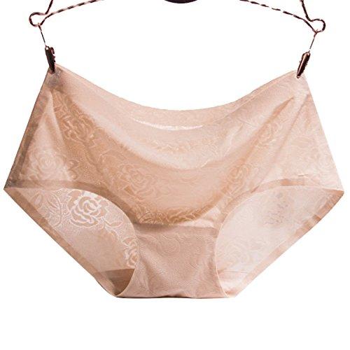 GAZHFERF Seda Del Hielo 3 Paquetes Sin Dejar Rastro Ropa Interior Femenina Transpirable Cintura Jacquard Ropa Interior De Damas Nudecolor
