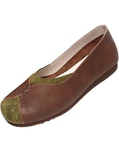 Youlee Femmes Nouveau Printemps Glisser Sur Ballerine Appartements Chaussures en Cuir Confortables Style 3 Brown bruIan