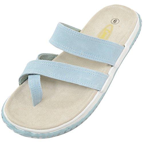 Mujer/mujer de piel ante Sandalias de playa de verano/Vacaciones//zapatos azul claro