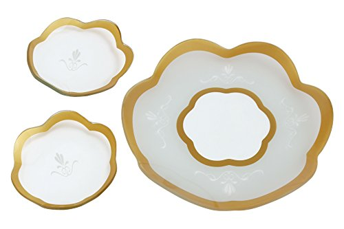 GAC Set of 3 Scalloped Tempered Glass Round Serving Platter and 2 Round Glass Dessert Plates Gift Pack Unbreakable – Chip Resistant – Oven/Microwave Safe – Dishwasher Safe Decorative (Etched Scalloped Glass)