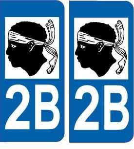 2 Autocollants de plaque d'immatriculation auto 2B Corse - LogoType SAFIRMES