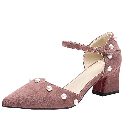 Charm Foot Womens Pointed Toe Cute Chunky Mid Heel DOrsay Shoes Dark Pink ALNw6CBUU
