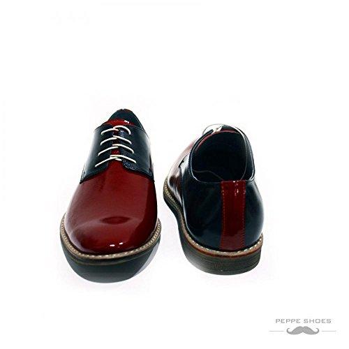 PeppeShoes Modello Viareggio - Handgemachtes Italienisch Leder Herren Rot Oxfords Abendschuhe Schnürhalbschuhe - Rindsleder Lackleder - Schnüren