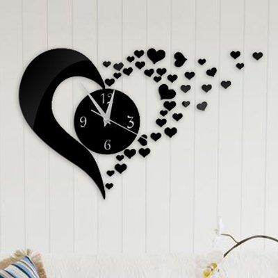 Alrens_DIY(TM)Black Hearts Art Mordern Luxury Design DIY Removable Acrylic Silent Quartz Clock Watch 3D Crystal Mirror Surface Effective Wall Clock Wall Sticker Home Decor Art Living Room Bedroom Office Decoration