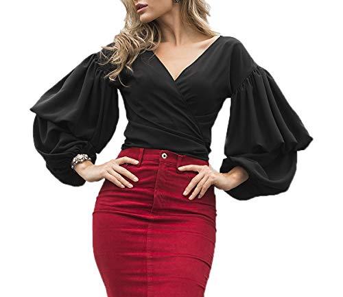 avec T Tee Shirt Femmes Longues Bandage Chemisiers Automne V Col Casual Noir Hauts Blouses Printemps Tops Manches Mode JackenLOVE p01qZZ