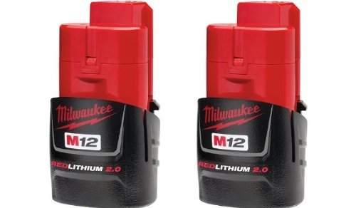 Milwaukee 48-11-2420 (2 PACK) M12 RED LITHIUM 2.0 12-Volt Cordless Battery - Drill Press Dolly