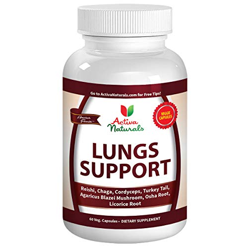 Lungs Supplement with Reishi, Chaga, Cordyceps, Turkey Tail, Agaricus Blazei Mushrooms and Licorice Root for Comprehensive Lung & Respiratory Health Support, 60 Veggie Caps