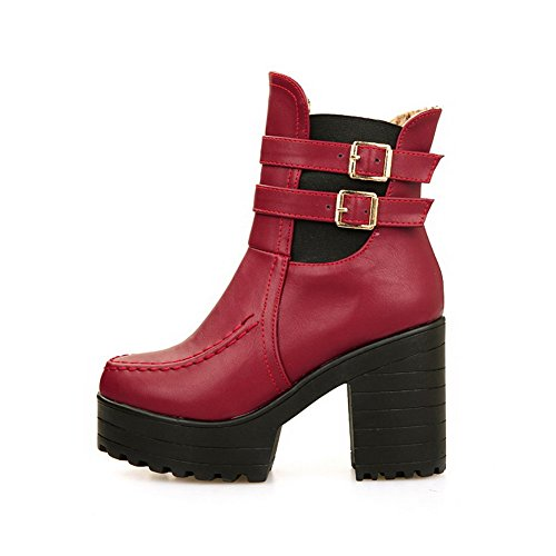 Material On Soft Pull AgooLar Heels Solid High Toe Boots Women's Round Closed Red StFpwqZ