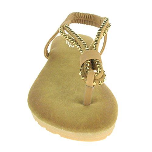Mujer Señoras Diamante Slingback Verano playa Casual Fiesta Punta abierta Comodidad Plano Sandalias Zapatos Tamaño Marrón