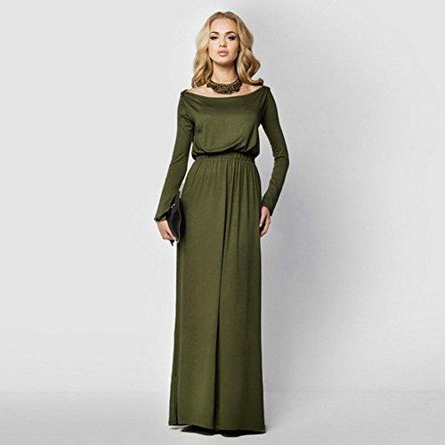 Amazon.com: Celltronic Women Boat Neck Long Sleeve Long Maxi Dress ...