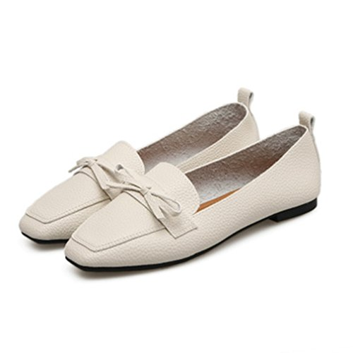 GIY Womens Retro Casual Square Toe Penny Loafers Flat Moccasin Slip-On Classic Dress Bow Loafer Shoes White-beige TZSaJl