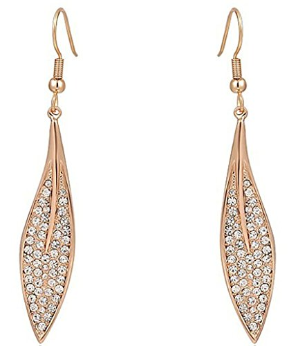 Gnzoe Women's Girl's 18k Gold Plated Drop Earrings Crystal CZ Full Of Diamond Leaf Rose Gold, Antiallergy - 70's Costumes Ireland