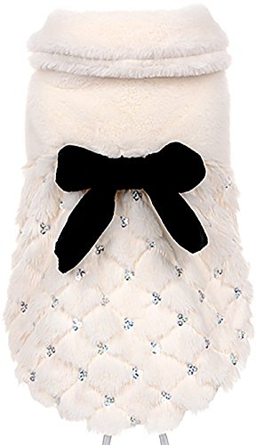 MaruPet Autumn/Winter Overall Fleece Warm Two-Leg Jumpsuit Cosplay Outfit Elegant Frock Pearl Top with Bowknit for Teddy, Pug, Chihuahua, Shih Tzu, Yorkshire Terriers, Papillon White XS