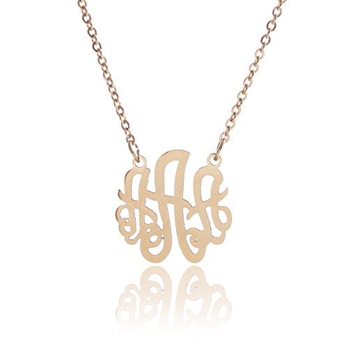 HUAN XUN 14k Gold Plated Stainless Steel Initial Monogram Necklace, 16+2