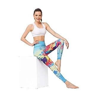 MUMUWU Women Printed Yoga Pants Sport Workout Running Leggings Power Flex Yoga Leggings Woodpecker L (Color : Sea and Fire, Size : L(US 12-14))
