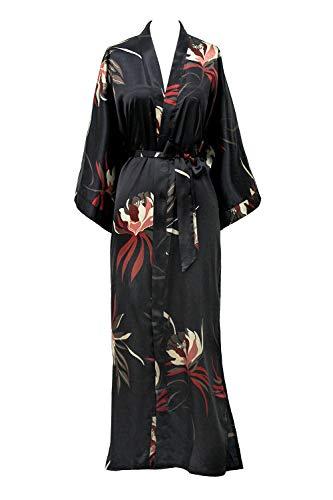 KIM+ONO Satin Kimono Robe Long - Hana - Black