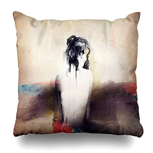 Suesoso Decorative Pillows Case 18 X 18 inch Face Woman Portrait Abstract Watercolor Paint Draw Ink Throw Pillowcover Cushion Decorative Home Decor Nice Gift Garden Sofa Bed Car]()