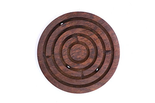 DEVARSH INTERNATIONAL ROSE Wood Labyrinth Board Game Ball in Maze Puzzle Handcrafted in India, Handmade Unique Centrepiece Table / Desk / Floor / Indoor / Outdoor Game – Gift for Kids ( 6 INCH)
