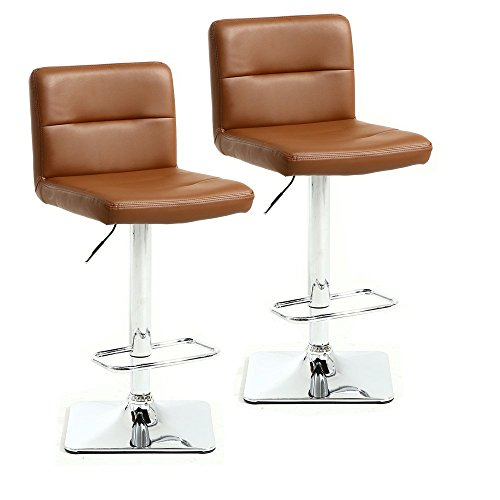 Xinghao Modern Swivel Barstools with Chrome Base, Adjustable Counter Height Bar Stool, Brown PU Leather Padded with Back, Set of 2