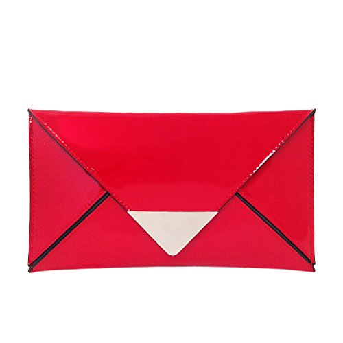 - Faux Patent Leather Envelope Clutch, Red