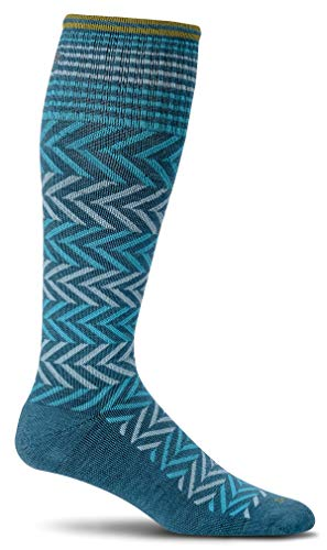 Sockwell Women's Chevron Graduated Compression Socks, Teal, Small/Medium