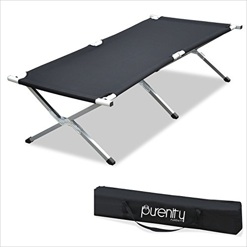 - Purenity Folding Military Bed Portable Sport Camping COT With Free Storage Bag (Black)
