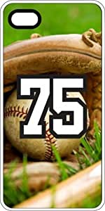 Baseball Sports Fan Player Number 75 White Plastic Decorative iphone 5s Case