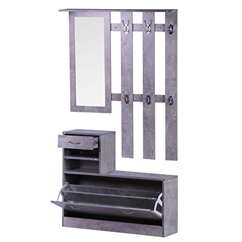 Homcom Ensemble de Meubles d'entrée, Couloir, 3 pièces, Porte-Manteau, Miroir, Meuble à Chaussures avec tiroir, 90 x 22 x 116 cm, Gris