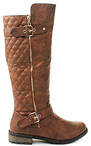 Forever Mango-21 Women's Winkle Back Shaft Side Zip Knee High Flat Riding Boots Tan 10 - Boots